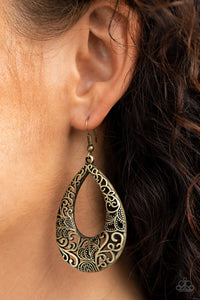 Paparazzi Get Into The GROVE - Brass Earrings