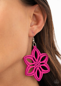 Paparazzi Bahama Blossoms - Pink Wooden Earrings