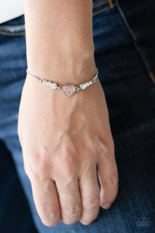 Paparazzi Big-Hearted Beam Pink Bracelet