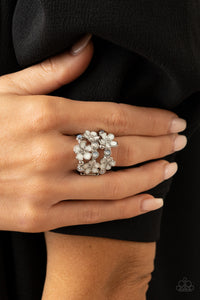Paparazzi Blooming Banquet White Ring