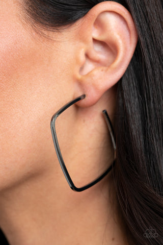 Paparazzi Brazen Beauty Black Hoop Earrings