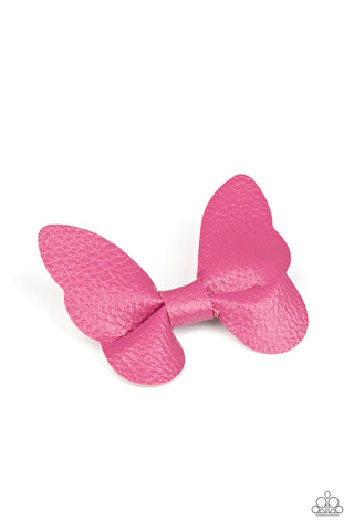 Paparazzi Butterfly Oasis Pink Leather Hair Clip