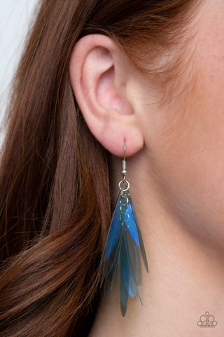 Paparazzi Holographic Glamour - Blue Earrings