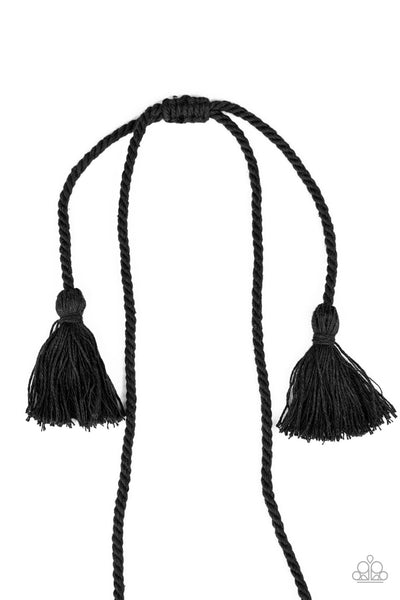 Paparazzi Macrame Mantra - Black Necklace
