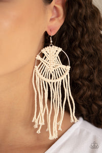 Paparazzi MACRAME, Myself, and I - White Earrings