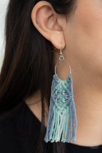 Paparazzi Macrame Rainbow - Blue Earrings
