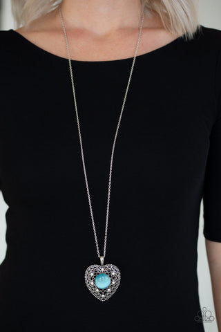 Paparazzi One Heart Blue Necklace