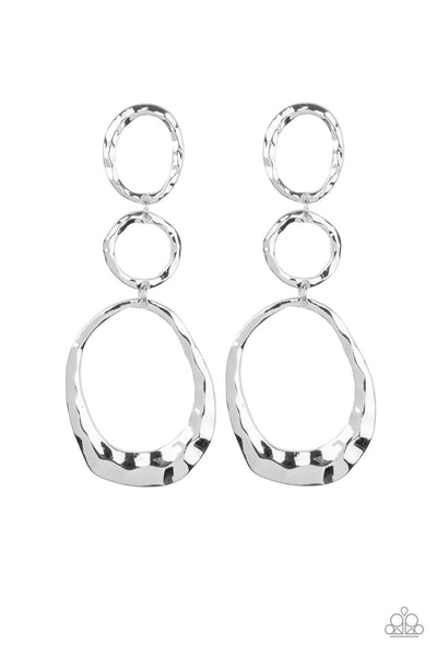 Paparazzi Radically Rippled - Silver Earrings