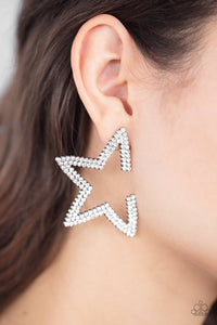 Paparazzi Star Player - White Earrings