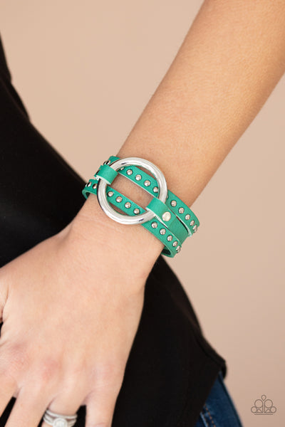 Paparazzi Studded Statement-Maker - Green Bracelet