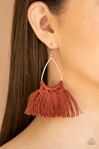 Paparazzi Tassel Treat - Brown Earrings