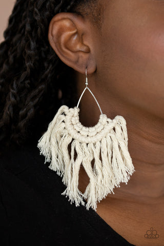 Paparazzi Wanna Piece Of MACRAME? - White Earrings