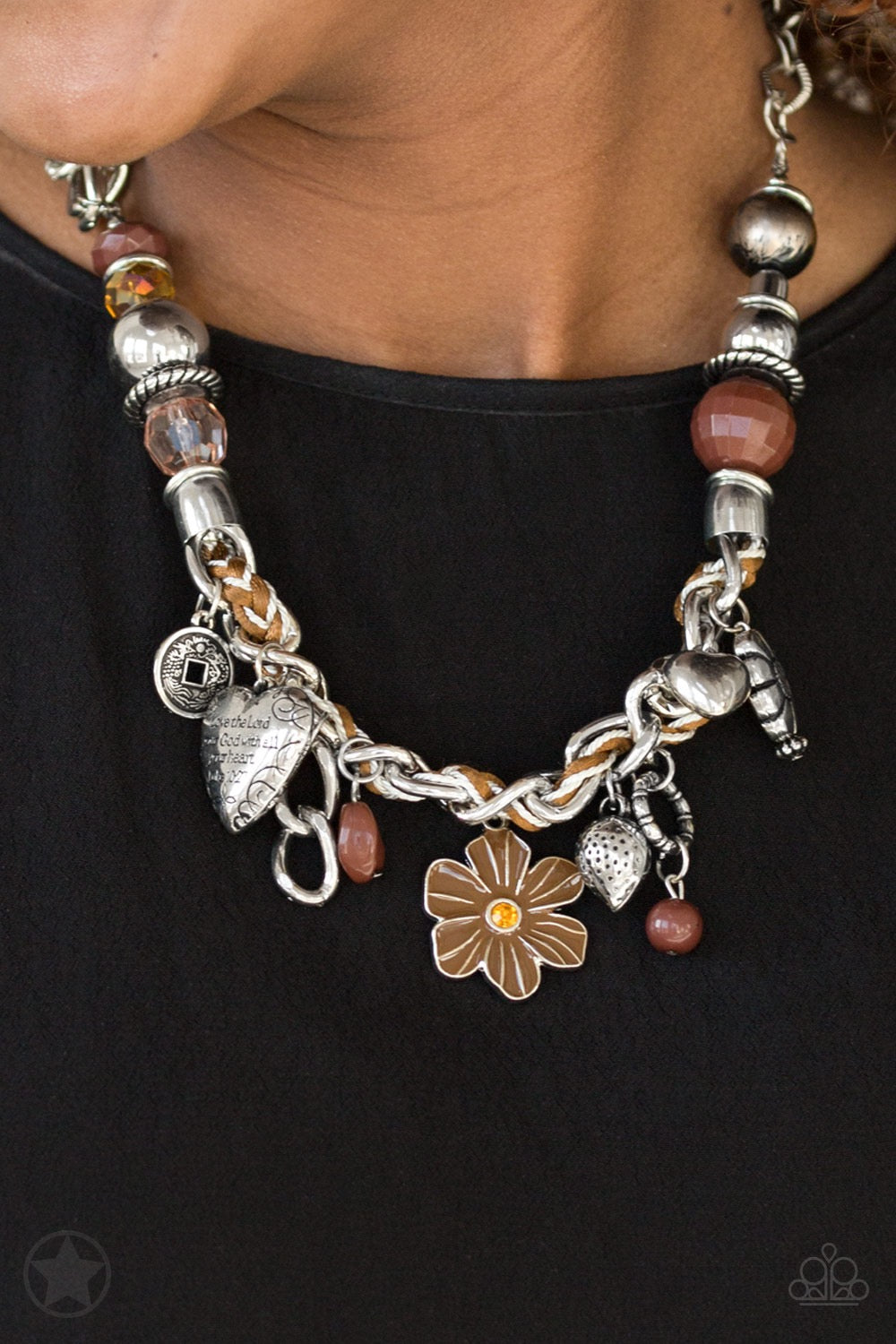 Paparazzi Charmed, I Am Sure - Brown Blockbuster Necklace
