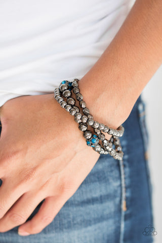 Paparazzi Noticeably Noir Blue Bracelet