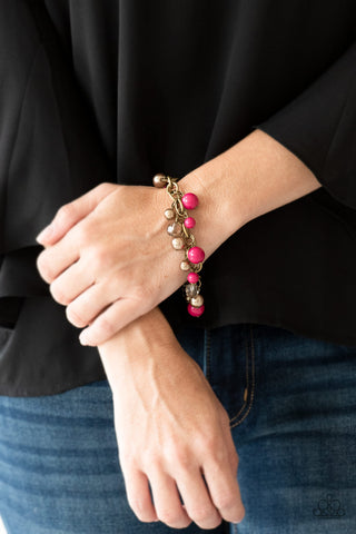 Paparazzi Grit and Glamour Pink Bracelet