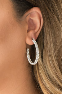 Paparazzi Big Winner - White Hoop Earrings