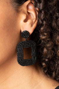 Paparazzi Beaded Bella Black Seed Bead Earrings
