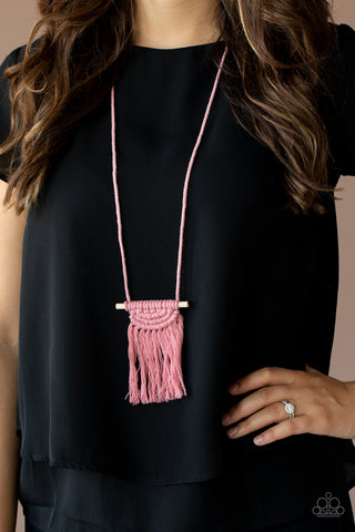 Paparazzi Between You and MACRAME Pink Necklace
