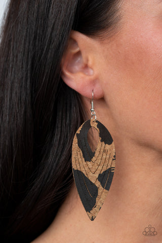 Paparazzi Cork Cabana - Black Earrings