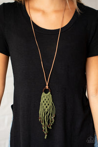 Paparazzi It's Beyond MACRAME! Green Necklace