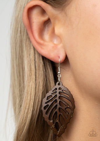 Paparazzi LEAF Em Hanging - Brown Earrings