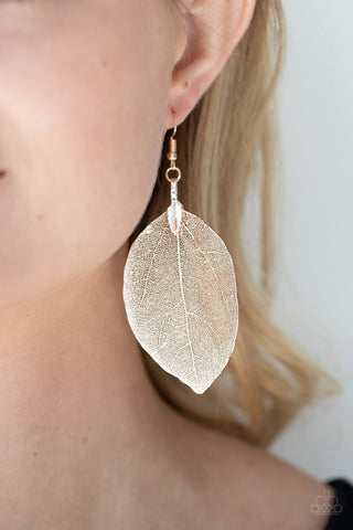 Paparazzi Leafy Legacy Rose Gold Earrings