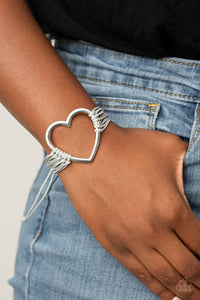 Paparazzi Playing With My HEARTSTRINGS Silver Bracelet