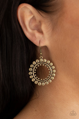 Paparazzi Radiating Radiance Brass Earrings