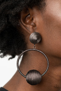 Paparazzi Social Sphere Black Earrings