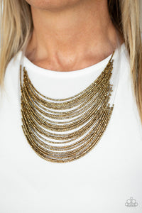 Paparazzi Catwalk Queen Brass Seed Bead Necklace