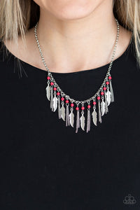 COMING SOON - Paparazzi Feathered Ferocity - Red Necklace