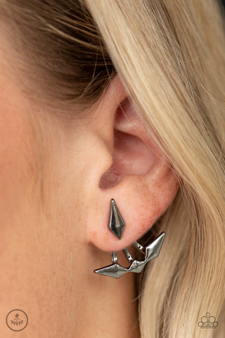 Paparazzi Metal Origami - Black Earrings