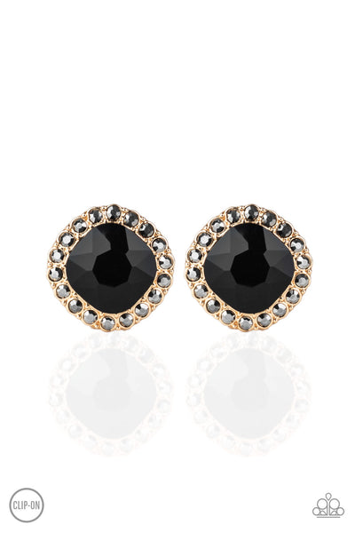 Paparazzi Diamond Duchess - Gold Clip On Earrings