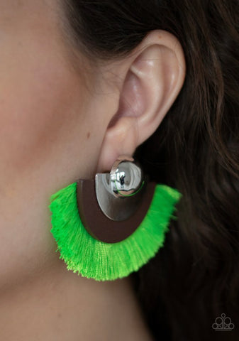 Paparazzi Fan The FLAMBOYANCE - Green Earrings