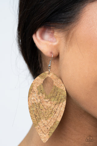 Paparazzi Cork Cabana Green Earrings