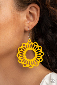 Paparazzi Dominican Daisy - Yellow Wooden Earrings