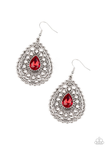 Paparazzi Eat, Drink and BEAM Merry Red Earrings