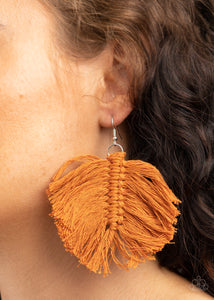 Paparazzi Macrame Mamba - Brown Earrings