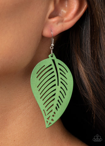 Paparazzi Tropical Foliage Green Earrings