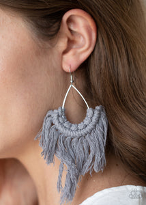 Paparazzi Wanna Piece Of MACRAME? - Silver Earrings