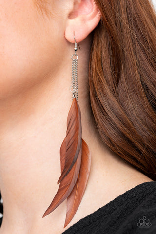 Paparazzi West Side Western Brown Earrings