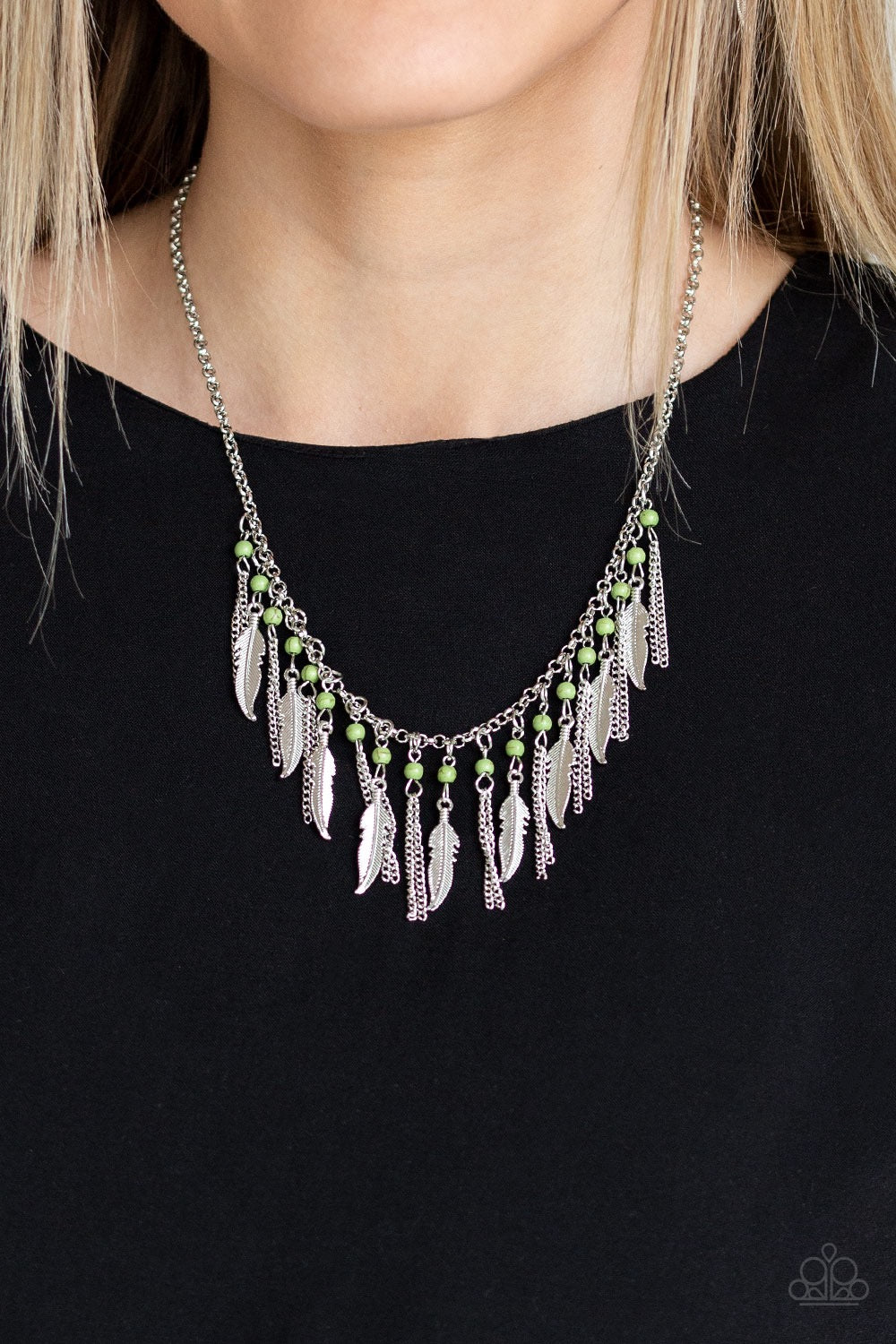 Paparazzi Feathered Ferocity - Green Necklace