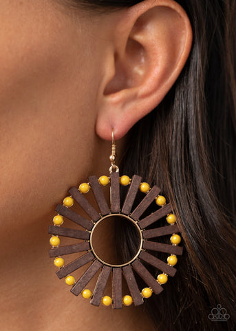 Paparazzi Solar Flare - Yellow Earrings