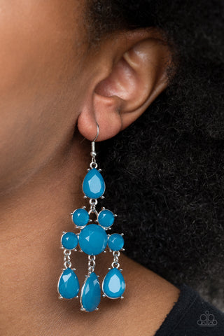 Paparazzi Afterglow Glamour Blue Earrings