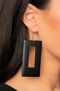 Paparazzi Totally Framed - Black Earrings