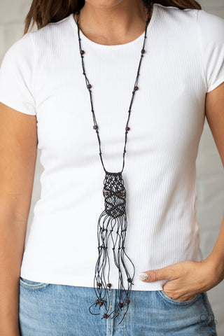 Paparazzi Macrame Majesty - Black Necklace
