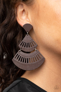 Paparazzi Oriental Oasis - Brown Earrings