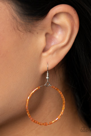 Paparazzi Colorfully Curvy - Orange Earrings