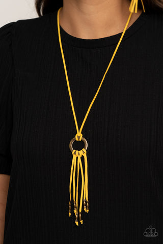 Paparazzi Feel at HOMESPUN - Yellow Necklace