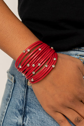 Paparazzi Fearlessly Layered - Red Bracelet